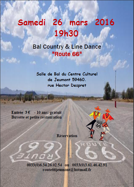 "26 mars 2016 : Bal country & Line dance de ""Route 66"""