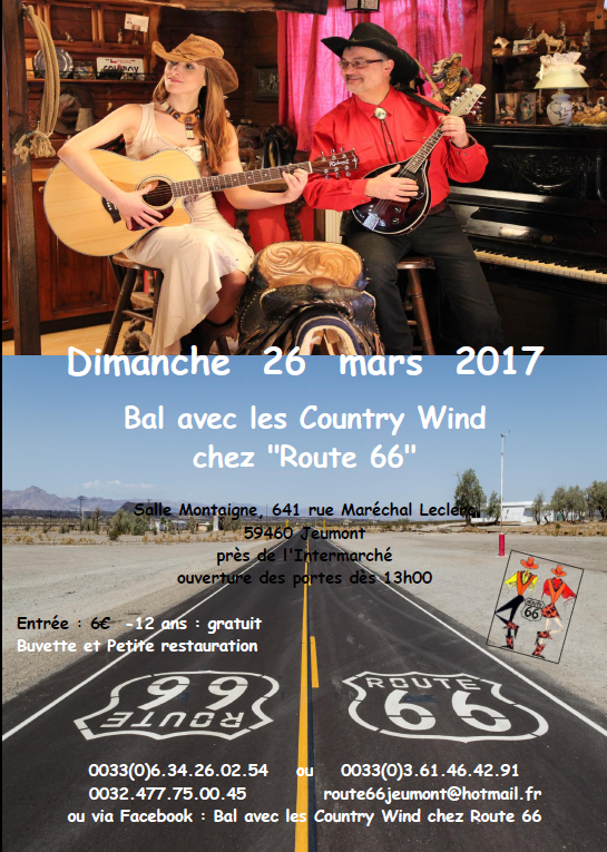 "Bal country le 26 mars 2017 avec le groupe ""Country Wind"""
