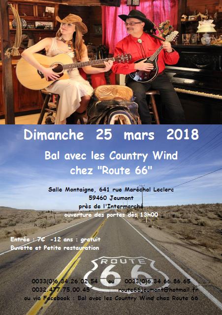"""25 mars 2018 : Bal chez """"Route 66"""" avec les """"Country Wind"""""""