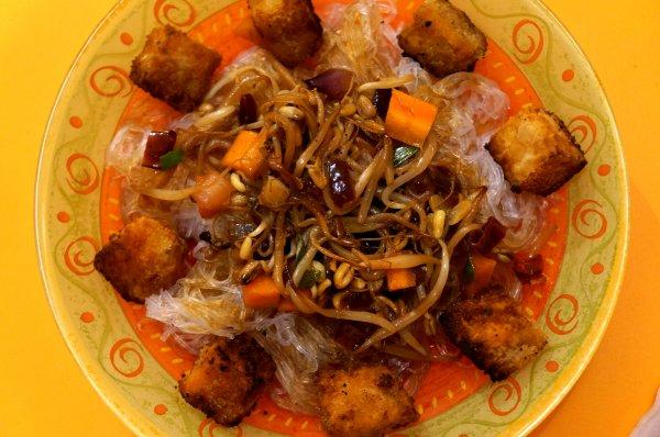 Vermicelles aux Légumes grillés & Patate Douce frie