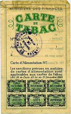 Tickets et cartes de rationnement