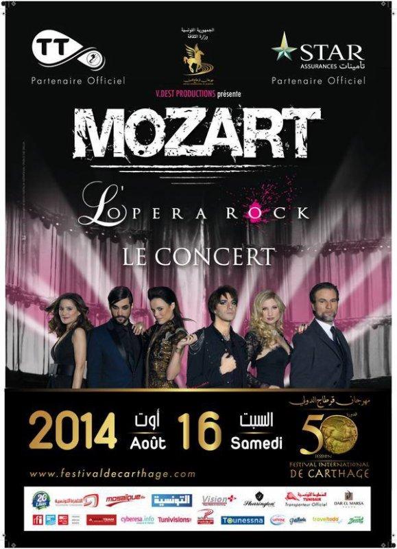 Mozart l'Opéra Rock au Festival de Carthage en Tunisie le Samedi 16 Août 2014 !