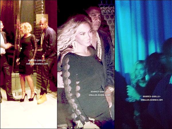 .  25/08/13 : Beyoncé et Jay-Z ont été vus quittant un club à New York pour l'after-party des VMAs 2013  Malheureusement, Bey ne s'est pas présentée à la cérémonie. Elle est sublime ! Vous pensez quoi de sa tenue? Top, bof ou flop?  .