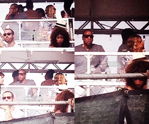 .  01/09/13 : Bey et Jay-Z ont été vus dans les backstages du MIA Festival où la soeur de Bey se produisait !   Bey était magnifique! Elle avait tellement l'air heureuse! Côté tenue: top, bof ou flop? Désolé pour la mauvaise qualité des photos.  .