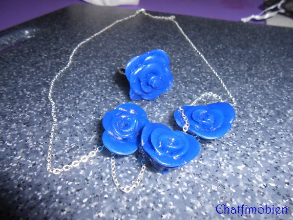 Ensemble Collier + bague rose