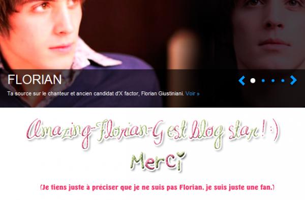 Blog star + quelques news sur Florian.