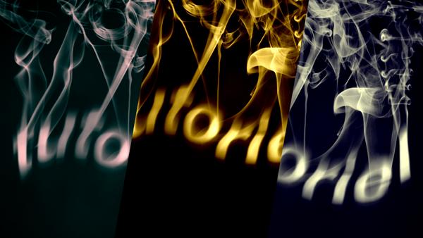 Texte en fumée ou en flammes