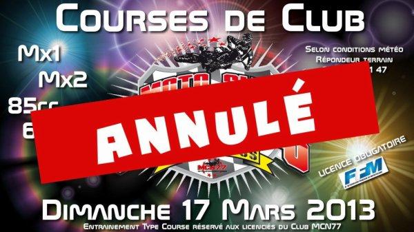 course de club annuler :-(