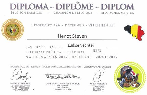 Champion de Belgique coq Liegeois !