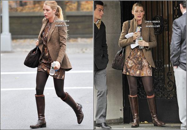 .  1?/01/11___Blake s'est rendue sur le tournage de Gossip Girl à nouveau + Scans du magazine MC de février  La tenue est simple, un sac CHANEL (dont elle est l'égérie), une veste en tweed Ralph Lauren, un BOF ; TOP ou FLOP ? .