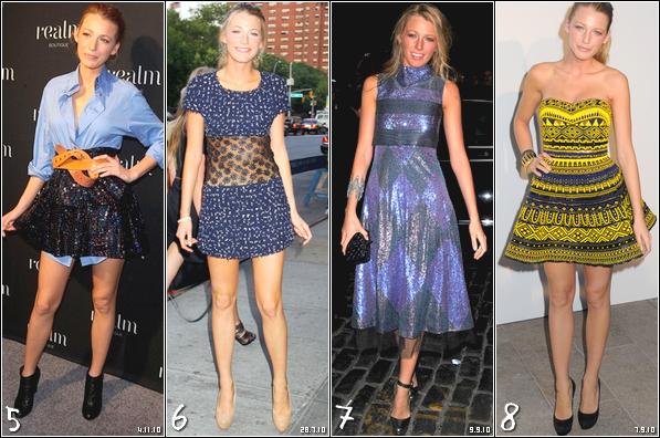 .  Quelle est ta tenue préférée de Blake lors de ses sorties sur le red carpet en 2010 ? N'oublie pas de voter en bas Personnellement j'adore les tenues 1, 5 et 8 :) C'est fou, Blake est toujours magnifique quand elle sort sur le tapis rouge ! .