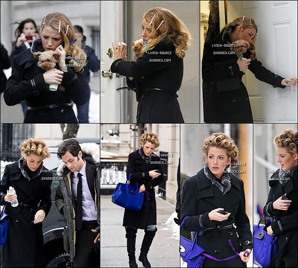 .  24/01/11___Blake s'est rendue sur la tournage de notre série télévisée préférée, Gossip Girl (seuls candids) 25/01/11___Mademoiselle VanDerWoodsen était encore sur le tournage de GG; qui constitue ses seules sorties. 27/01/11___Blake était sur le set de GG, avec sa chienne Penny et a tourné une scène avec Penn Badgley. La première tenue est pour moi un BOF; un manteau mou : pas terrible. La seconde est un TOP, j'adore ! TOP ou FLOP ? .