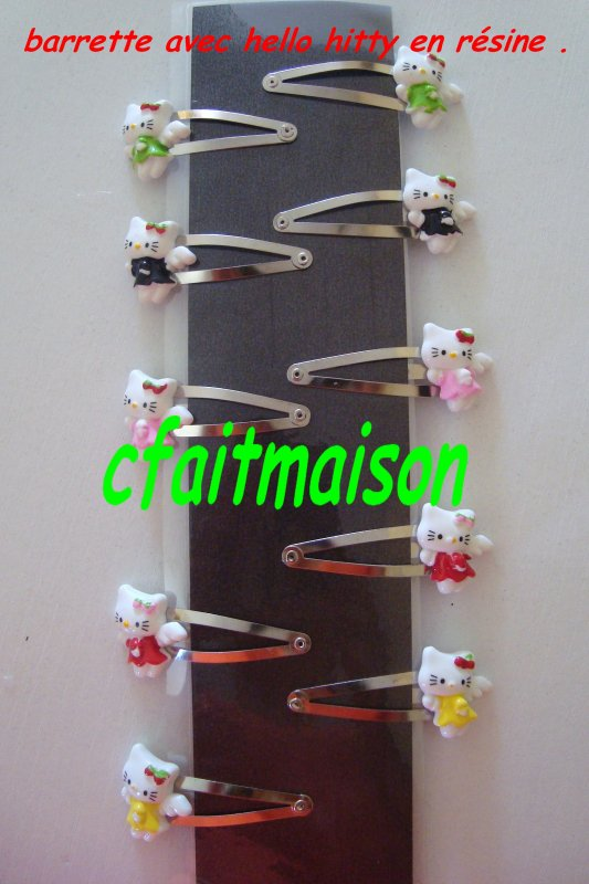 barrettes hello kitty ! en résine