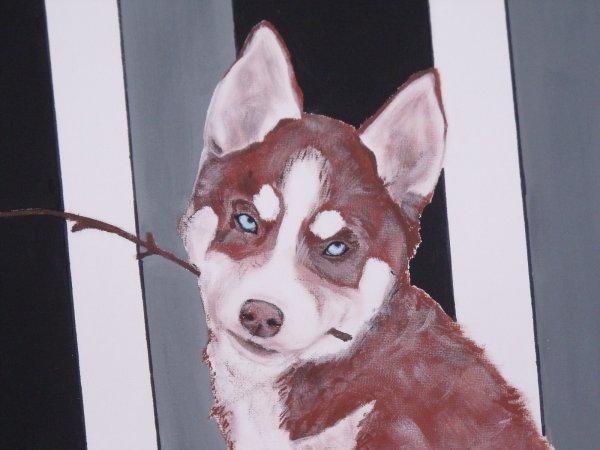 Peinture de mon louloup chinook que luibovcrypton a faite