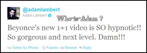 Adam parle du nouveau clip de Beyonce 1+1