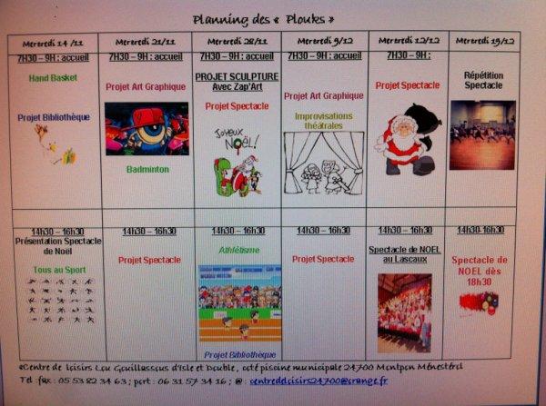 Planning des Plouks (9 ans et +) pour les mois de Novembre et Décembre.