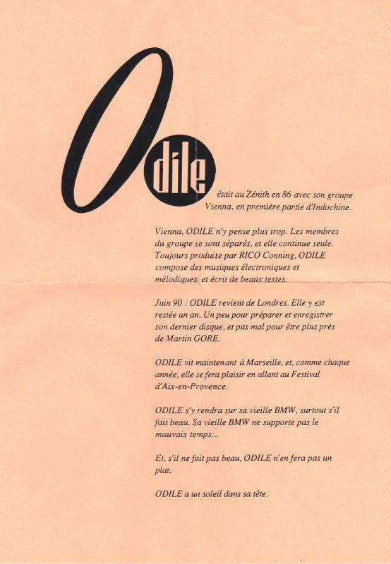 Côté promo  Odile - Reste avec moi (1990)