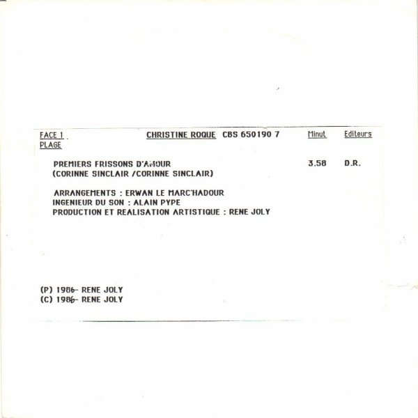Côté promo  Christine Roque - Premiers frissons d'amour (première version 1986)