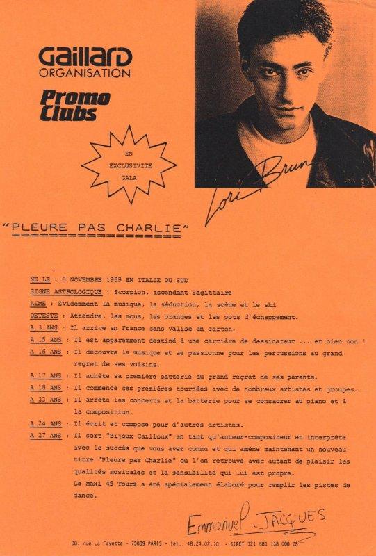 Côté promo  Lori Brune - Pleure pas Charlie (1988)