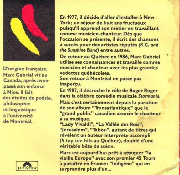 Côté promo Marc Gabriel - Indigène (1990)