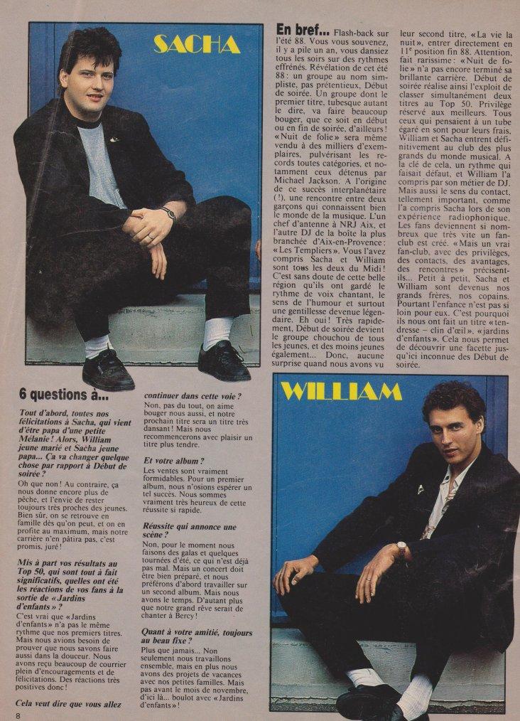 Articles  Interview Début de soirée - 1989