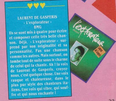 Articles  Laurent de Gaspéris - L'explorateur (1989)
