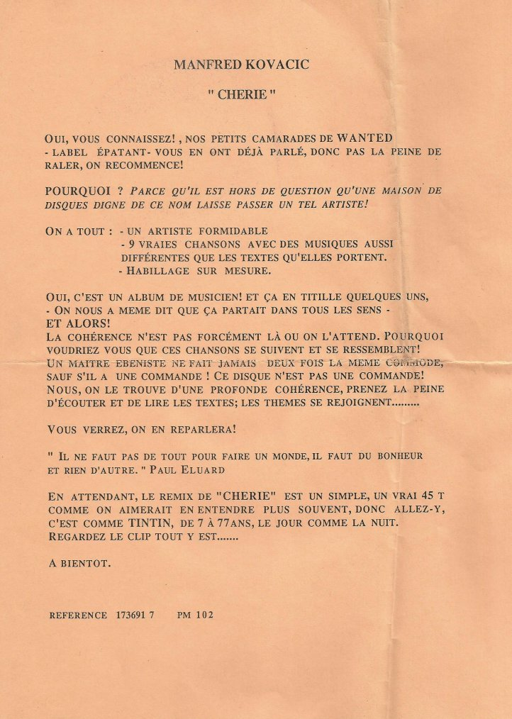 Côté promo  Manfred Kovacic 1990