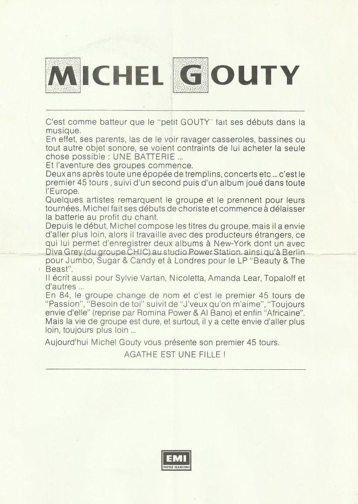 Côté promo  Michel Gouty - Agathe est une fille (1988)