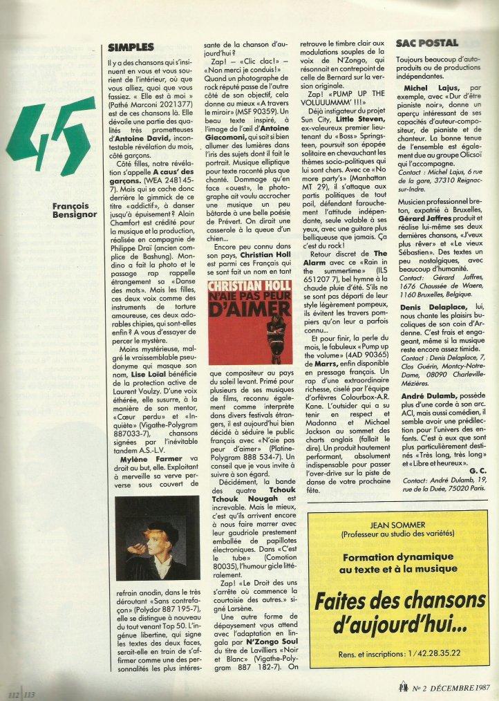 Articles  Page nouveautés 45 tours de Paroles et musique nouvelle série n°2 (décembre1987)
