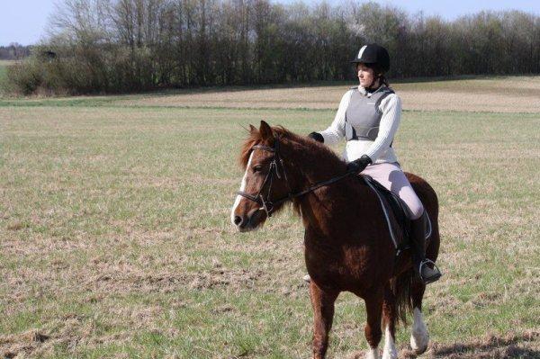 Sandrine et sa belle UCKBERRYL SPONTE, pouliche de 4 ans par TREVALLION HARLEY (GB) et BLANDINE SPONTE par RINGO SPONTE.