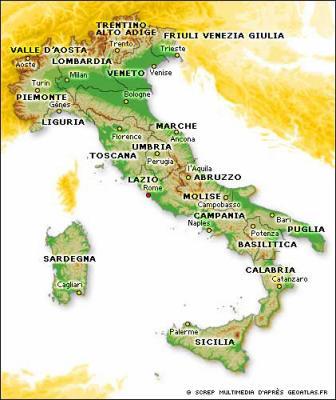 la carte de l'italie avec ses villes et villages   plus belle la