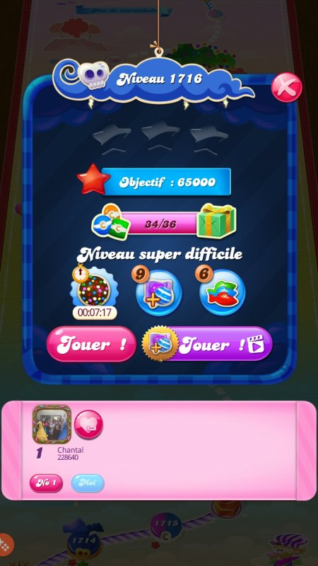 Candy crush niveau 1716