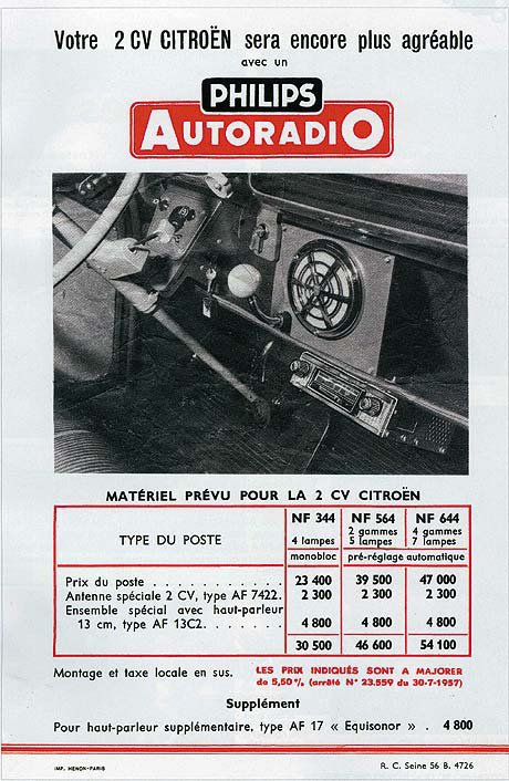 autoradio philips  pour  2cv