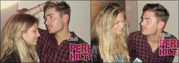 """Mr  Zac faisant la fête avec une blonde """"Victoria Palmeri"""" , dans l'appartement d'un ami à El Lay cette semaine."""