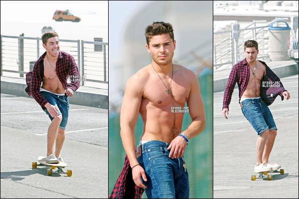 07 Mars : Zac a été aperçus entrain de faire du skateboard le long de la plage de Manhattan Beach.trop beau!Wow