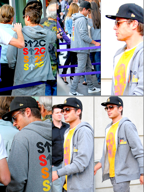Le 26Avril    :  Zac Efron a été vu  faisant la queue pour le match des Lakers au Staples Center dans Los Angeles