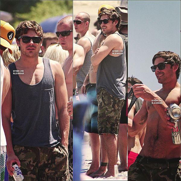 04 Juillet :  Zac accompagné d'un groupe d'amis , célébrant l'indépendance sur une plgae à Malibu  Avec ses amis , et Torse Nu ! Ayayya , je bave moi , retenez moi !J'adore ses lunettes,Son sourire aussi oO  t'aimes?