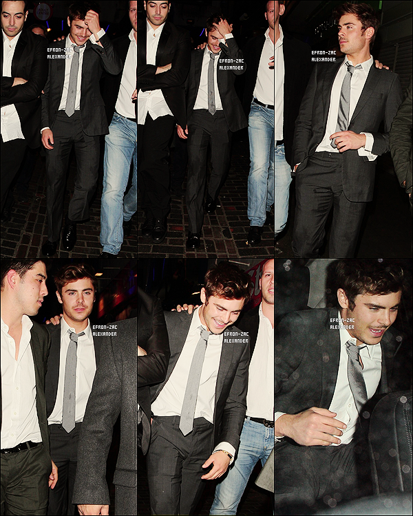 ____Candids   Le 21 Octobre 2011 : Zac sortait du club 'The Box' à Londres, Angleterre. Il a sans doute fêté son 24ème anniv.