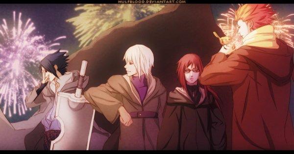 Sasuke, Suigetsu, Karin & Juugo