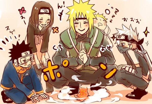 Obito, Rin, Minato, Naruto & Kakashi (& a little frog ♥)