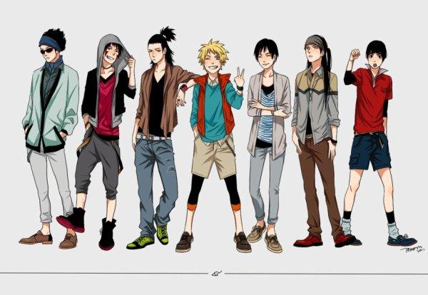 Shino, Kiba, Shikamaru, Naruto, Saï, Neji & Lee