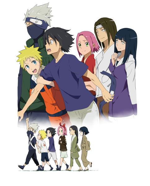 Kakashi, Naruto, Sasuke, Sakura, Neji & Hinata (Now & Children)