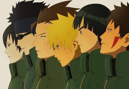 Saï, Shino, Chôji, Naruto, Lee & Kiba