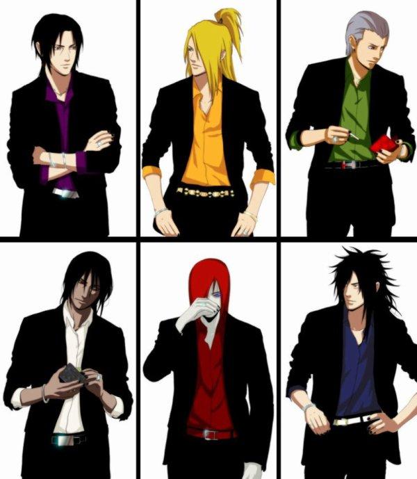 Itachi, Deidara, Hidan, Kakuzu, Nagato & Madara