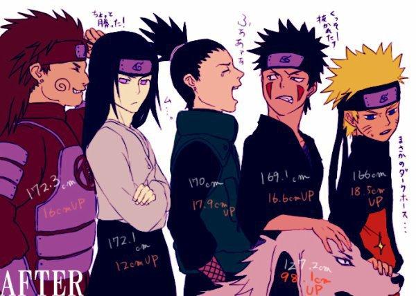 Chôji, Neji, Shikamaru, Kiba & Naruto