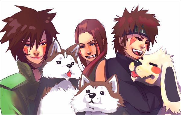 Tsume, deux des frères Haimaru, Hana, Kiba & Akamaru