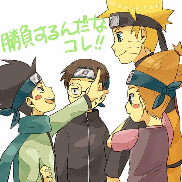 Konohamaru, Udon, Moegi & Naruto