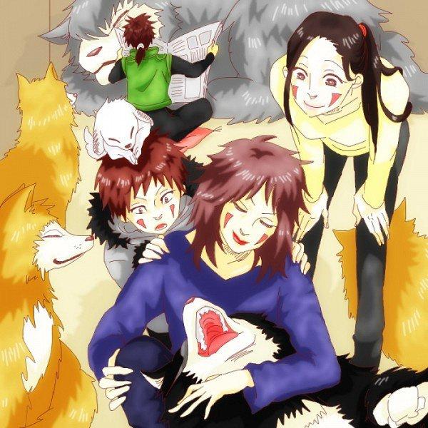 Kiba, Tsume, Hana, Kuromaru, frères Haimaru & Akamaru