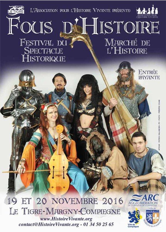 """19-20 novembre, Margny les Compiègne (60): FESTIVAL + MARCHÉ HISTORIQUE """"FOUS D'HISTOIRE""""."""