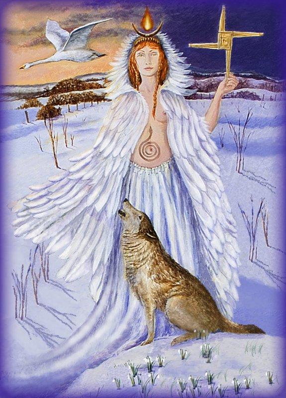 1er février 2018: IMBOLC, une des 4 grandes fêtes celtes, en l'honneur de la déesse mère Brigit et de son fils ¼ngus, le jeune Soleil, né dans le tumulus de Newgrange; rites de lustration.